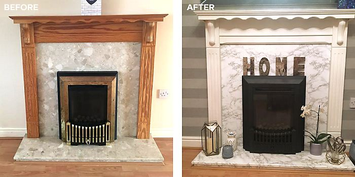 Updated fireplace using marble self-adhesive film