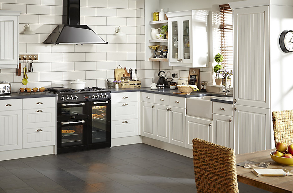 It chilton white country style fitted kitchens diy at b q - Country style kitchen cabinets design ...