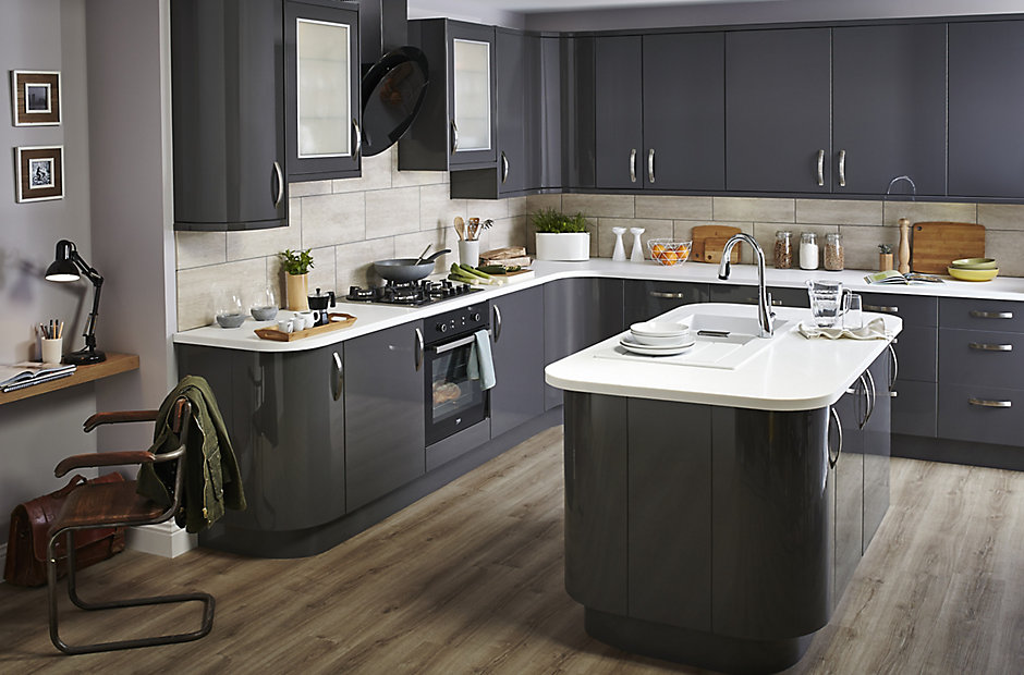 IT Santini Gloss Anthracite Slab DIY At BQ - Grey fitted kitchens