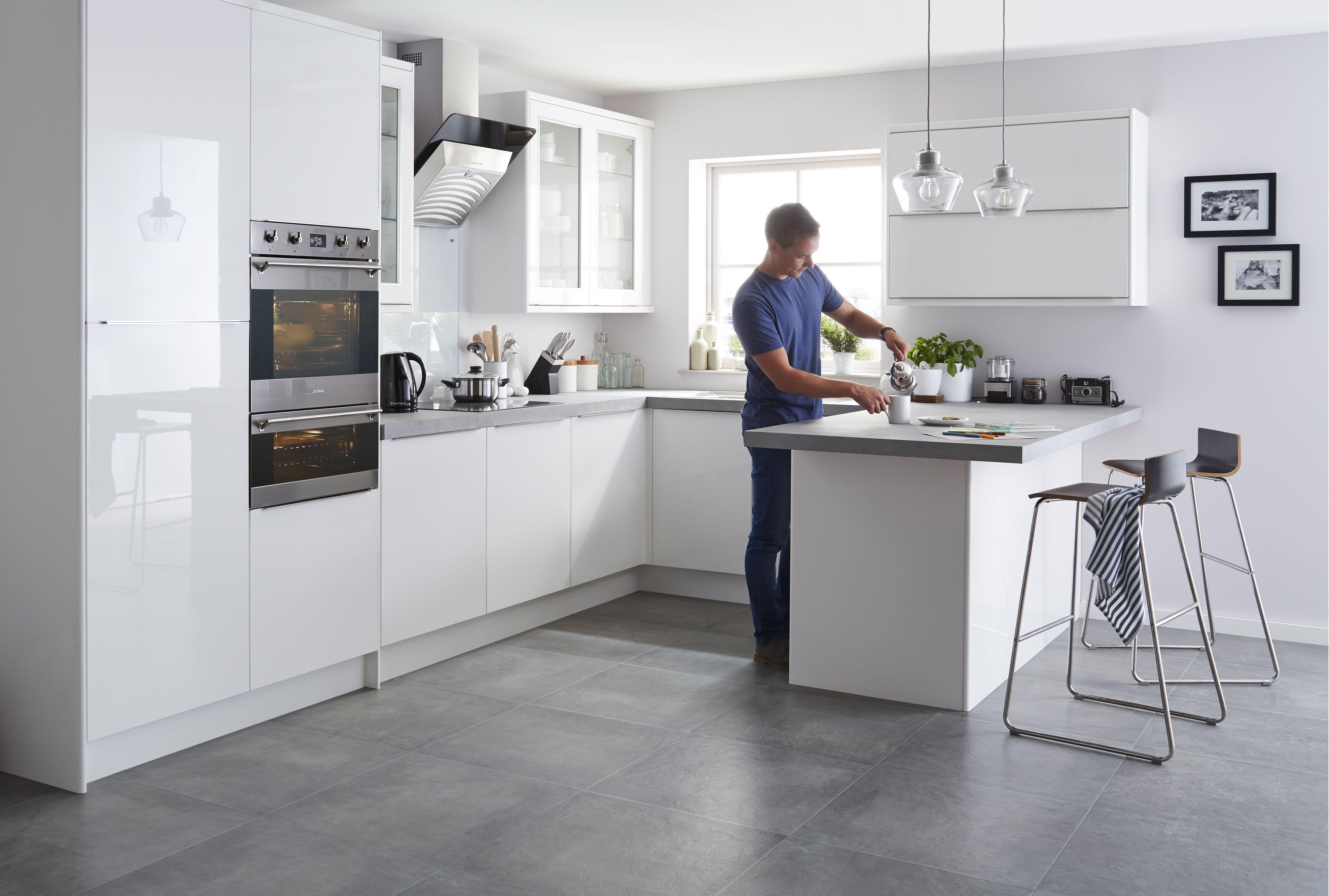 it santini gloss white slab fitted kitchens diy at b q rh diy com b and q kitchens prices b and q kitchens planner