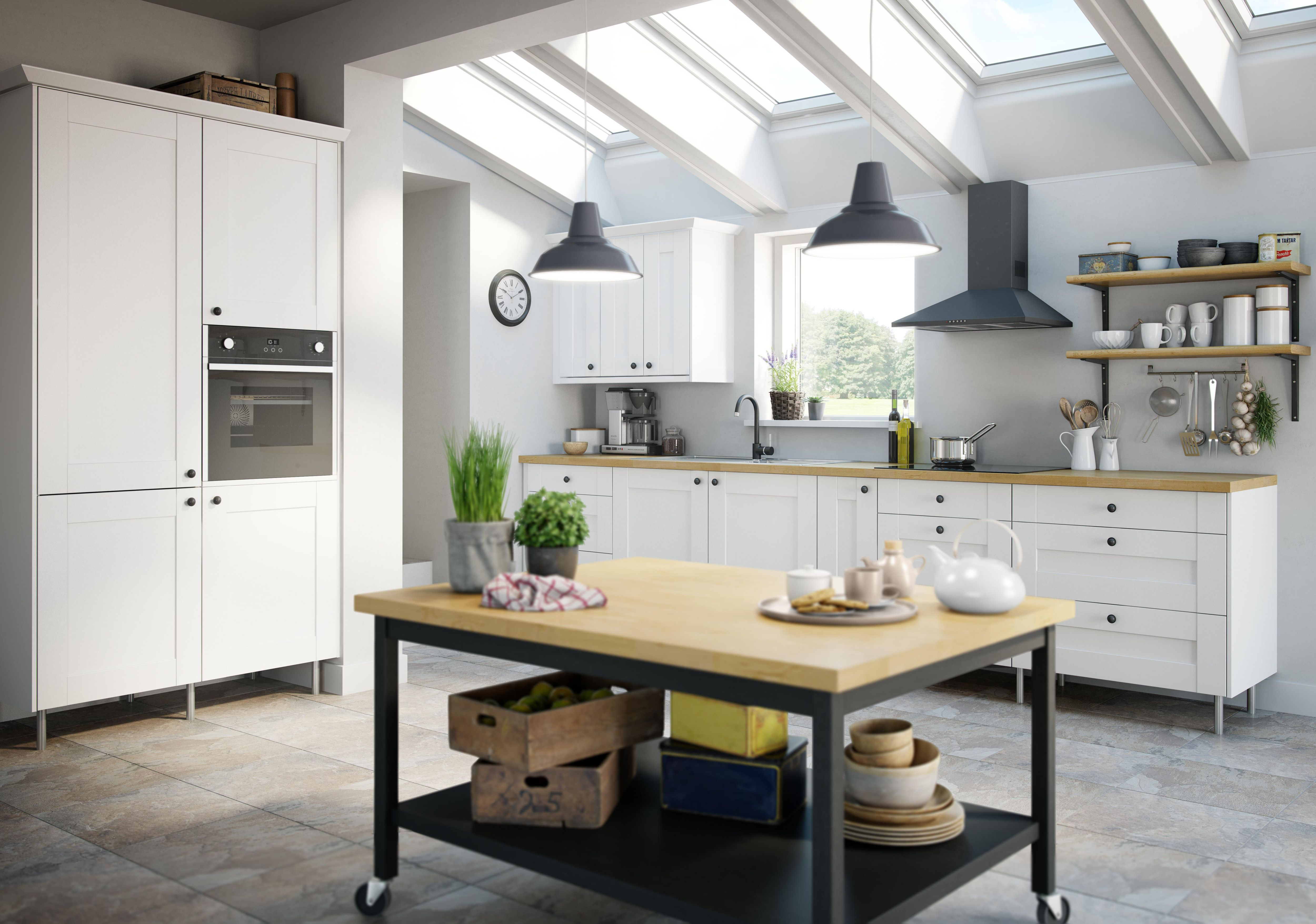 IT Westleigh Ivory Style Shaker Kitchen With Island