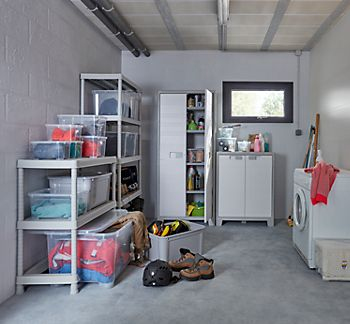 B&Q plastic garage shelving and cabinets