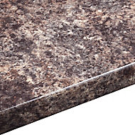 38mm Jamocha Brown Gloss Round edge Laminate Worktop (L)3.6m (D)600mm