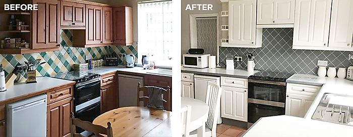 Before and after v33 renovation kitchen cabinet paint