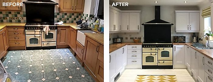 Before and after kitchen tiles painted with Ronseal tile paint