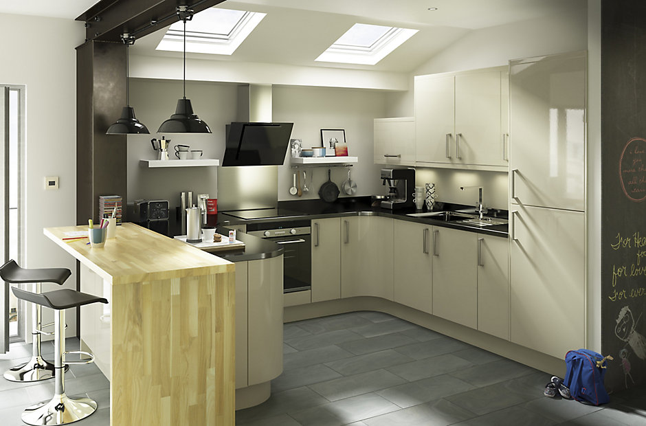 IT Santini Gloss Grey Slab DIY At BQ - Gloss grey kitchen units