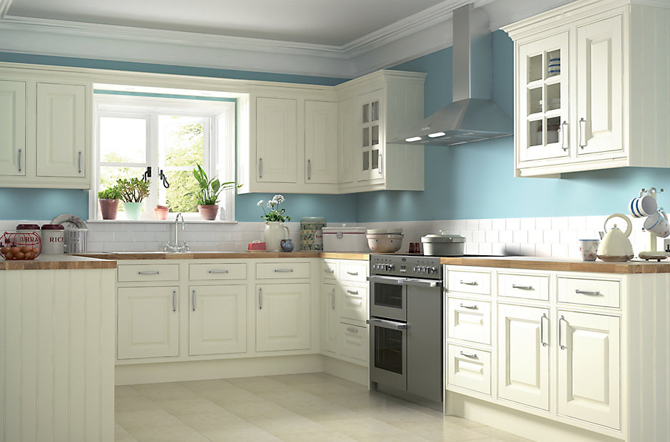 It holywell cream style classic framed diy at b q for Kitchen 0 finance b q