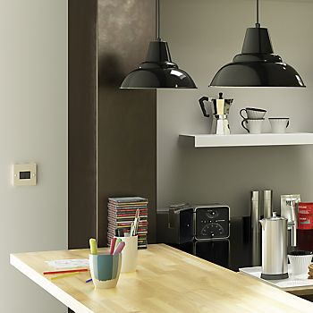 Light switch in IT Santini Grey Gloss Slab kitchen