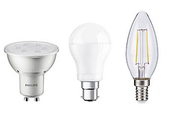 LED, CFL and halogen light bulbs