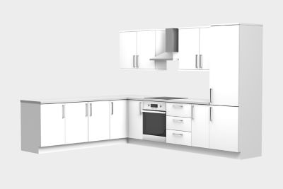 11 unit, L-shape kitchen
