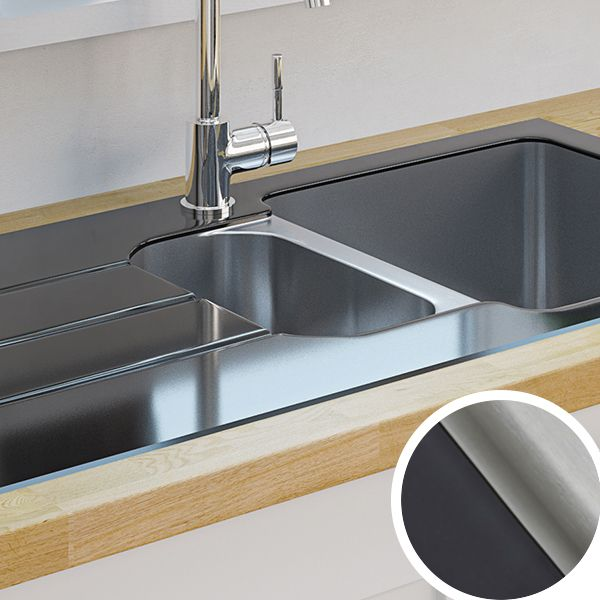 cheap black kitchen sink kitchen sinks metal amp ceramic kitchen sinks diy at b amp q 5239