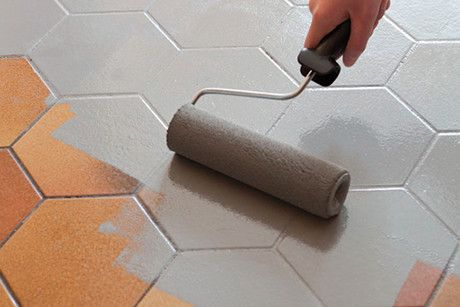 V33 renovation paint diy at b q for Painting vinyl floor tile