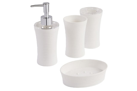 Manza White Bathroom Accessories