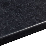 38mm Midnight Black Satin Granite effect Round edge Laminate Worktop (L)3.6m (D)600mm