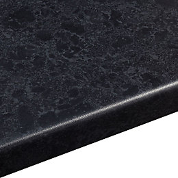 38mm Midnight Laminate Black Satin Granite Effect Round