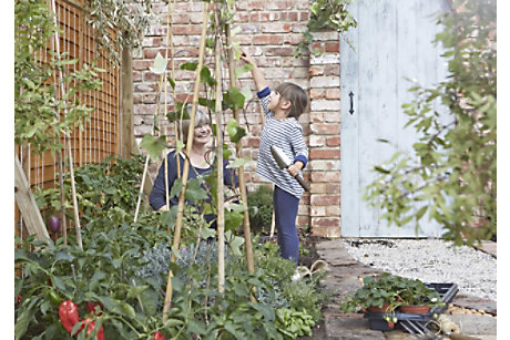 Family growing vegetables together