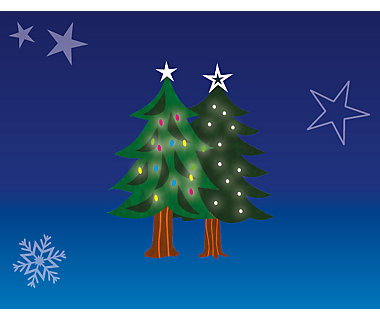 Illustration of two real Christmas trees