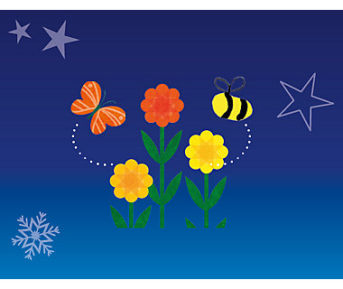 Illustration of flowers and insects