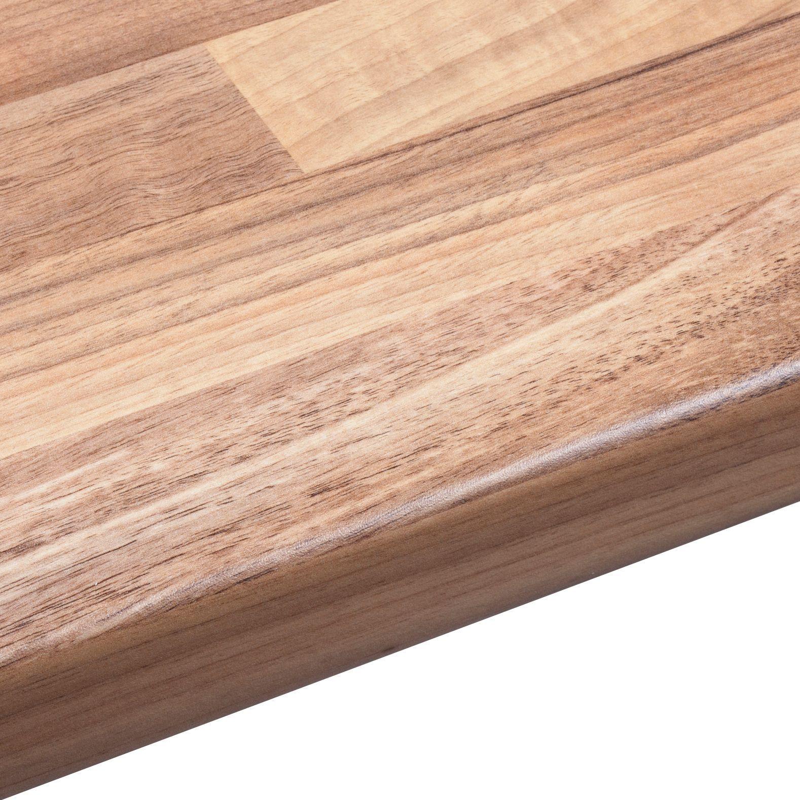 38mm Oak Wood Mix Laminate Wood Effect Round Edge Worktop (L)3000mm  (D)600mm | Departments | DIY At Bu0026Q.
