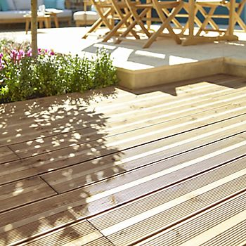 Timber decking in a garden with different levels