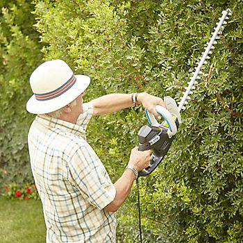 Man trimming hedge with Mac Allister hedge trimmer