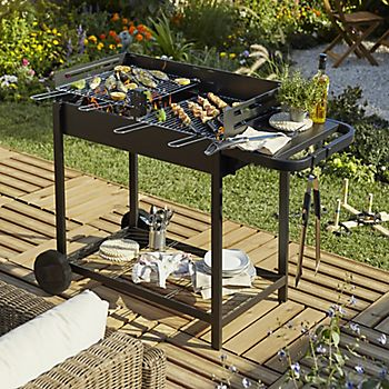 Rectangular charcoal barbecue