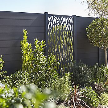 Blooma NEVA Aluminium Decorative Panel and Composite slats in garden