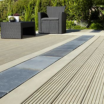 Decking boards combined with paving
