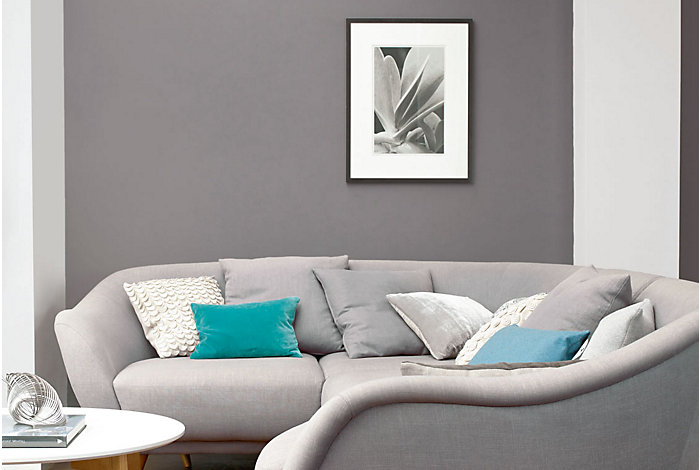 Living room with grey painted wall