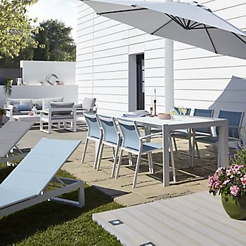 Large garden with decked, paved and lawn areas with the Bacopa dining furniture range