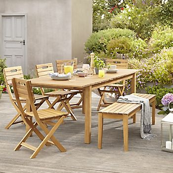Denia wooden dining table and chairs