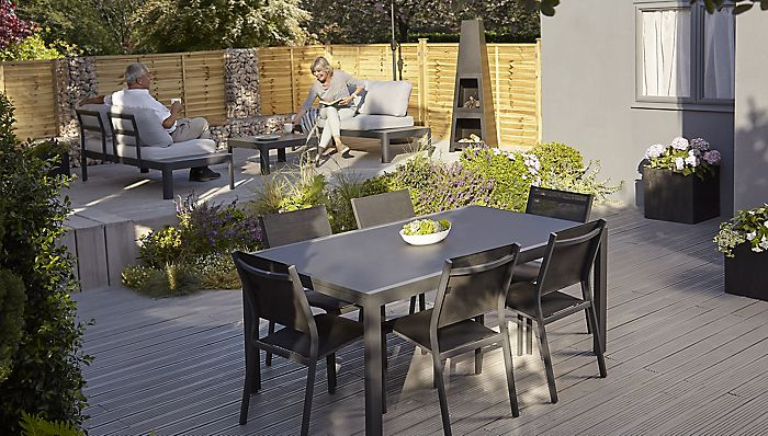 """Garden furniture including the Sumatra 6 seat dining set and Amorio coffee set"""