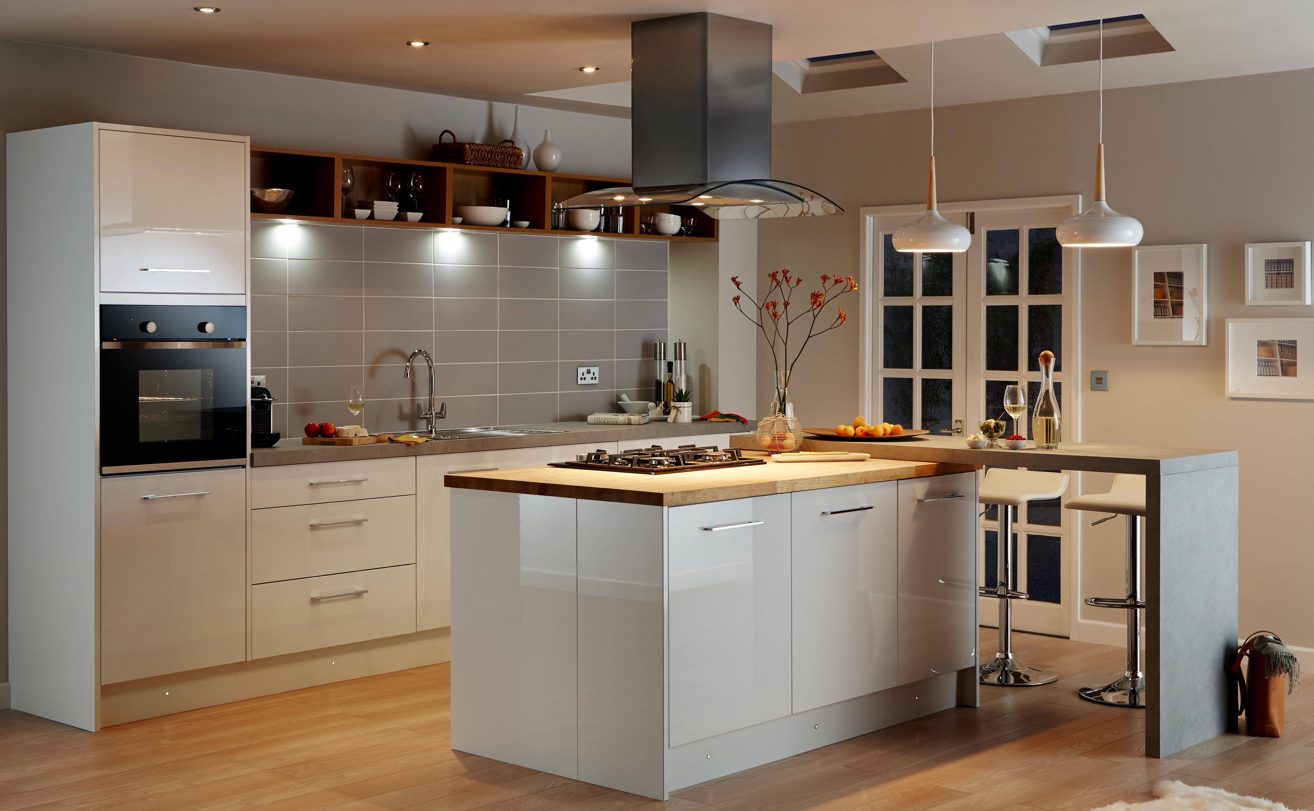 Lighting in the cooke lewis raffello high gloss white kitchen
