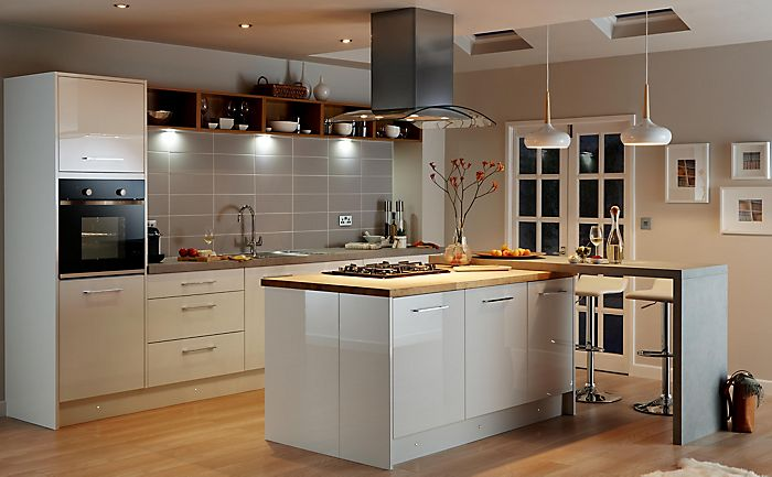 """Lighting in the Cooke & Lewis Raffello High Gloss White kitchen"""