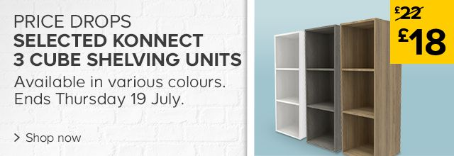 Price drops on selected Konnect 3 Cube Shelving Units