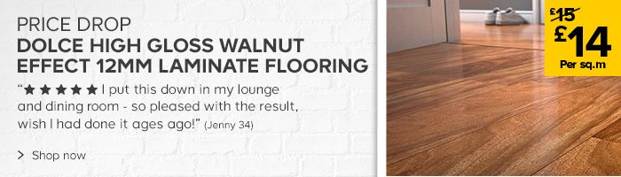 DOLCE HIGH GLOSS WALNUT EFFECT 12MM LAMINATE FLOORING NOW 14 PER SQUARE METER