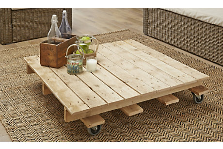 Coffee table made from a pallet