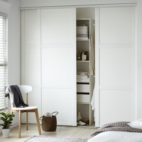 Sliding wardrobe doors kits bedroom furniture diy at bq shaker door amp internal kit solutioingenieria Images