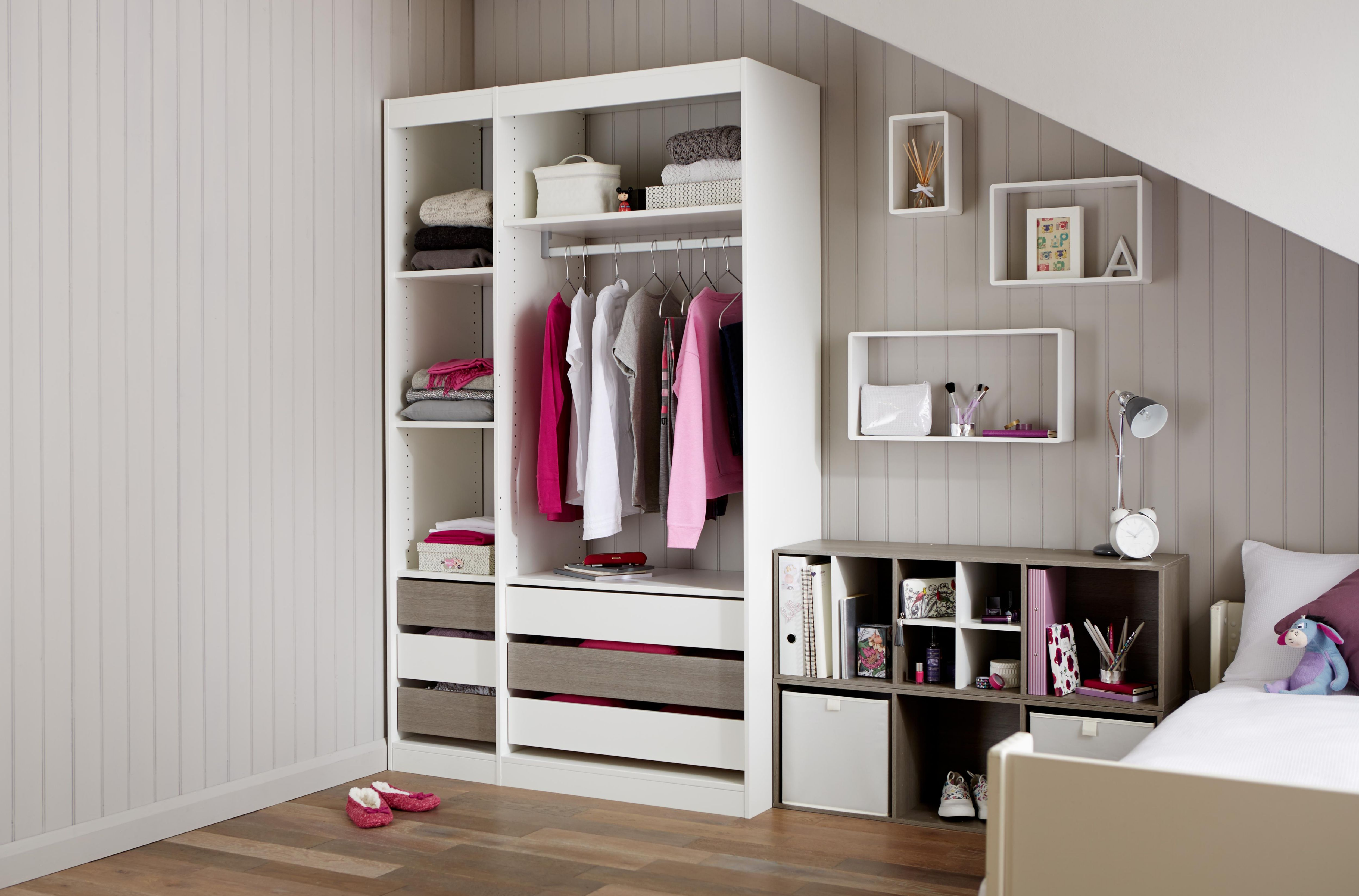 Perkin Grey oak & white wardrobe storage