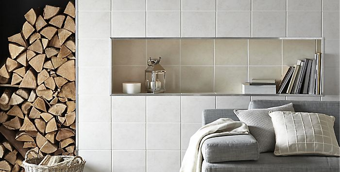 Tiled wall with Helena tiles