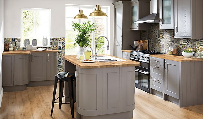 """Moroccan-inspired kitchen with Cooke & Lewis Carisbrooke kitchen in taupe"""