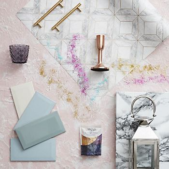 Unicorn-inspired kitchen accessories including the Contour Grey Marble Marquetry Wallpaper