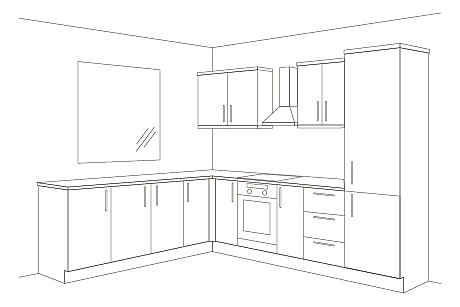 L-shape kitchen, 11 units