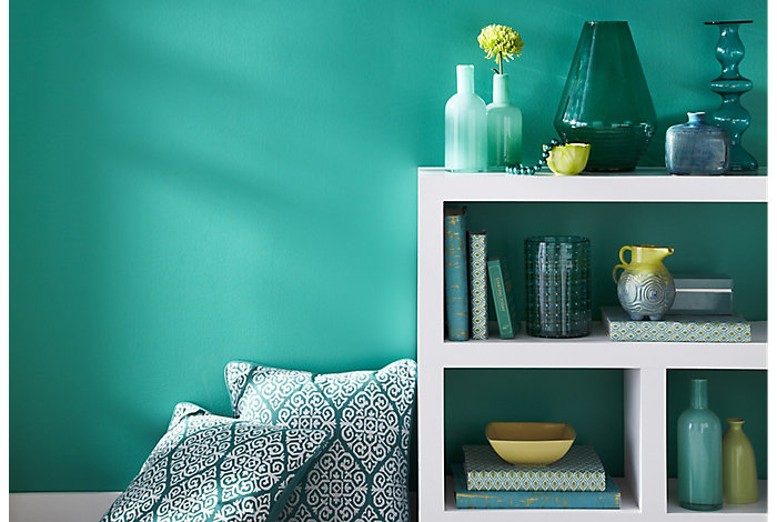Teal painted wall in living room