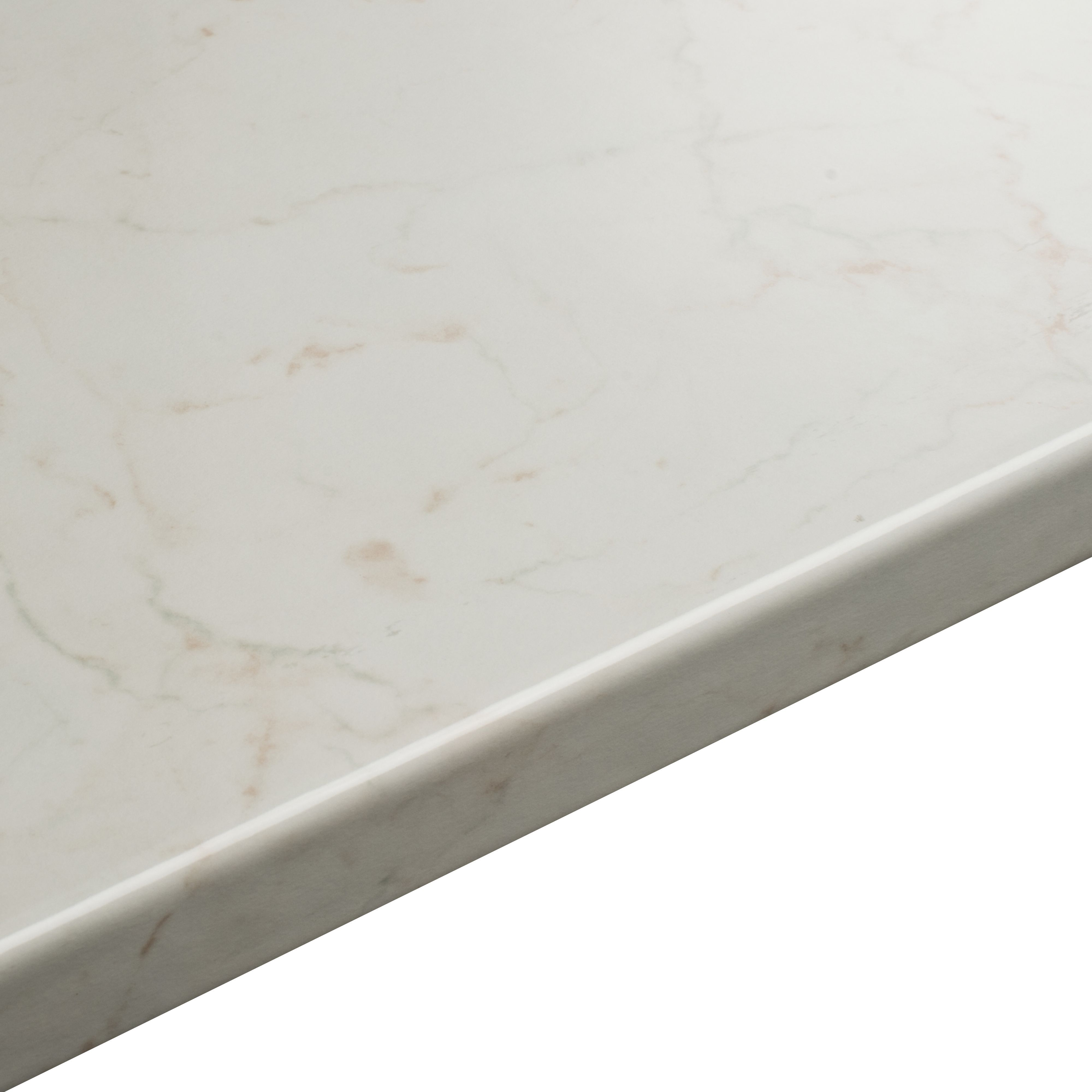 38mm B&Q Laminate White Gloss Marble effect Breakfast bar (L)2000mm ...