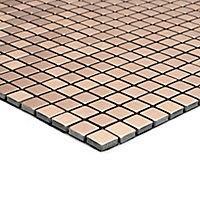 Abu dhabi Brushed bronze effect Metal Mosaic tile sheet, (L)290mm (W)290mm