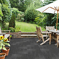Agate Black Matt Stone effect Porcelain Outdoor Floor tile, Pack of 2, (L)600mm (W)600mm