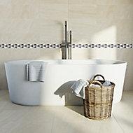 Akero Grey Flat Marble effect Natural stone Border tile, (L)270mm (W)50mm