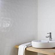 Alexandrina White Gloss Ripple Ceramic Wall tile, Pack of 10, (L)402.4mm (W)251.6mm