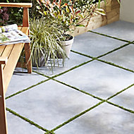 Anthracite Matt Stone effect Porcelain Outdoor Floor Tile, Pack of 2, (L)600mm (W)600mm